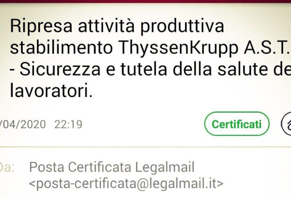 pec usl umbria 2 riapertura thyssen